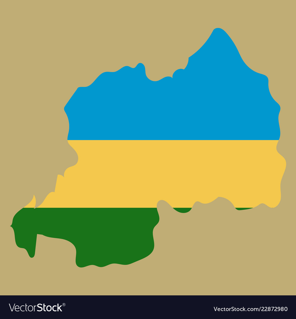 black silhouette of the country rwanda with the