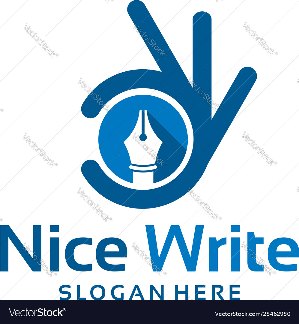Nice Write Logo With Finger Template Designs Vector Image