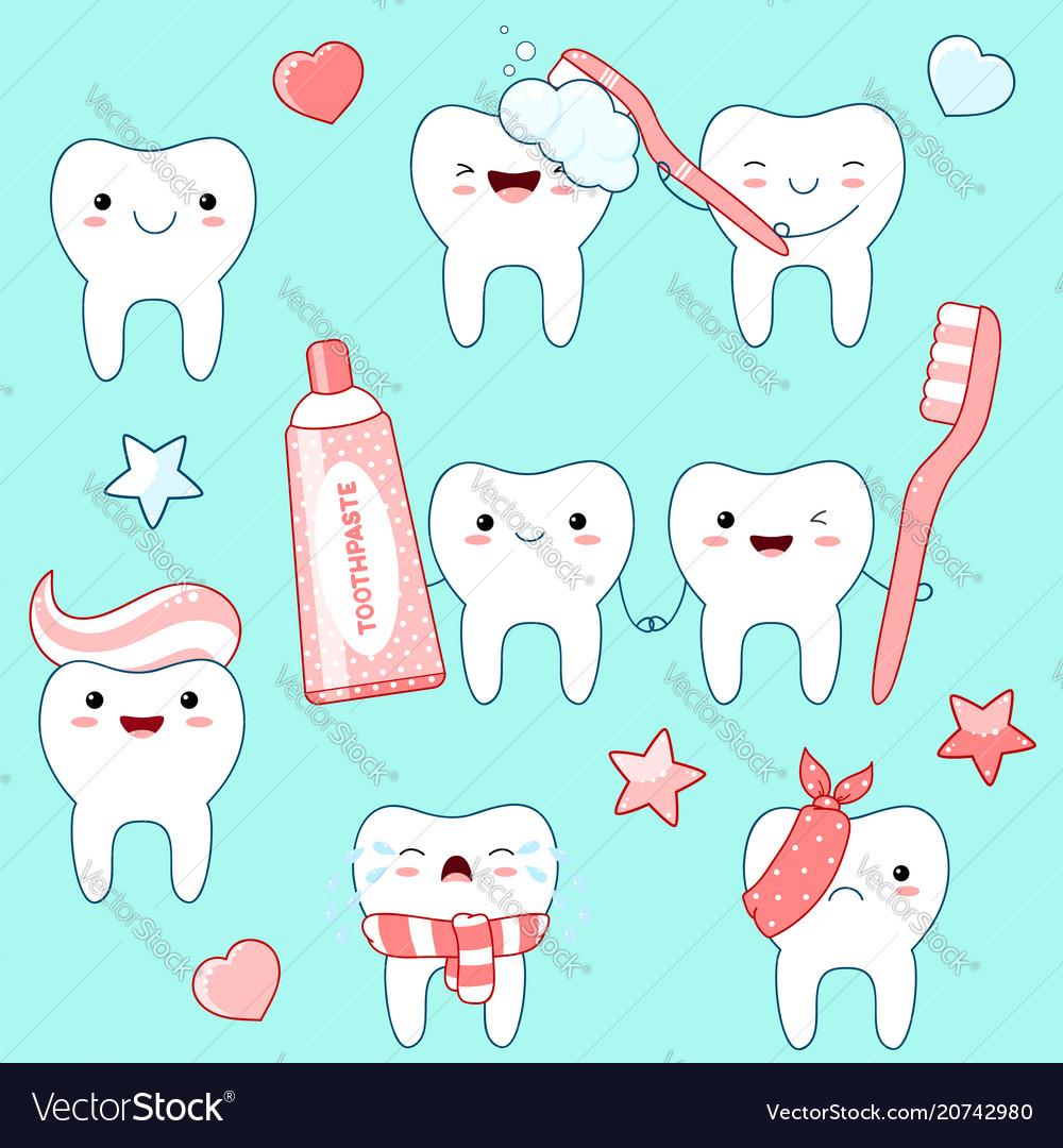 Set of cute teeth icons in kawaii style
