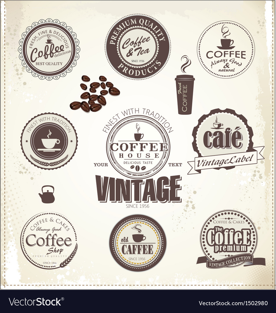 Set Of Vintage Retro Coffee Badges vector image