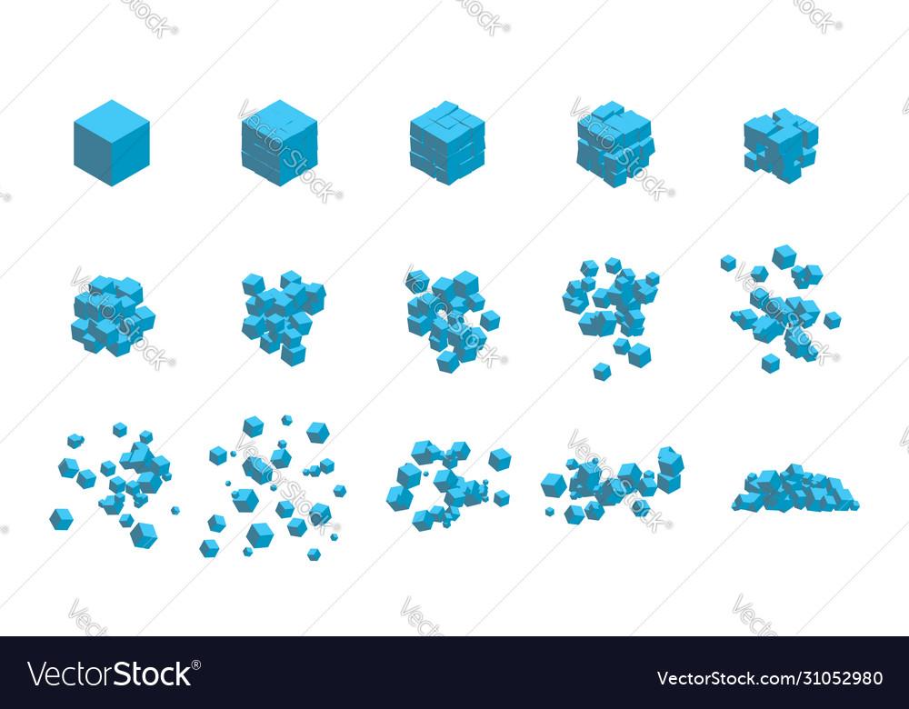 Stages destruction a cube an explosion