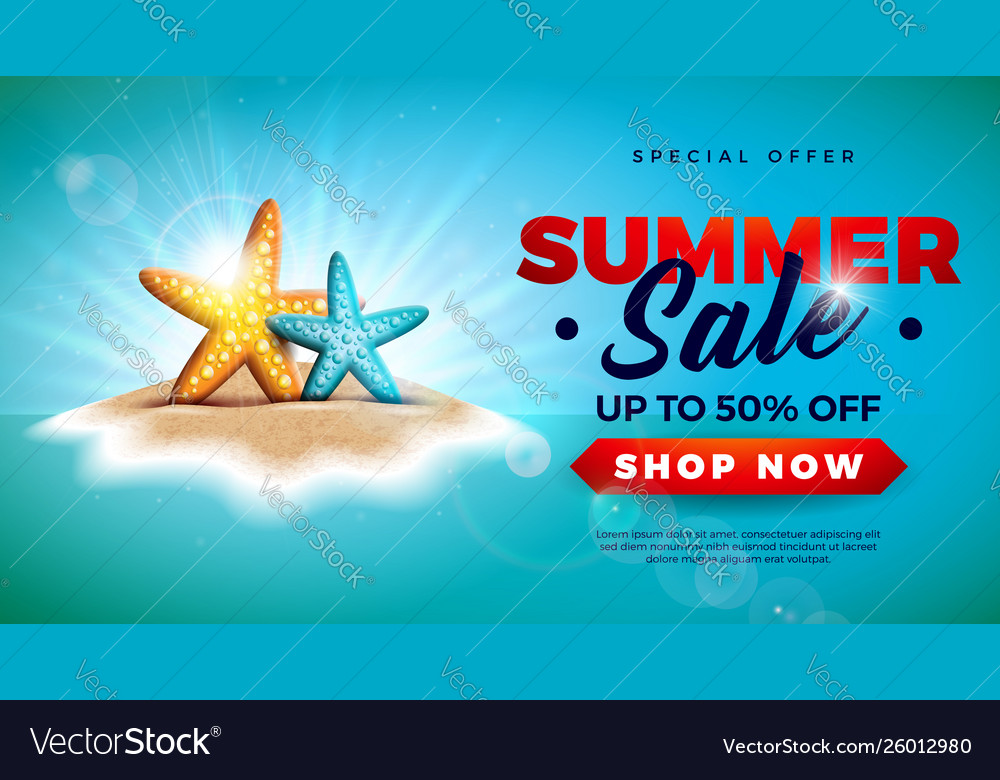 Summer sale design with starfish on tropical