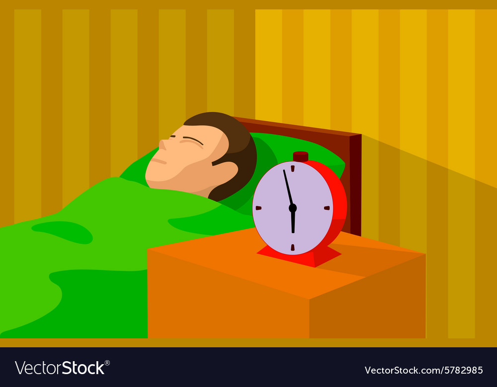 Cartoon image of a man sleeping in bed vector image