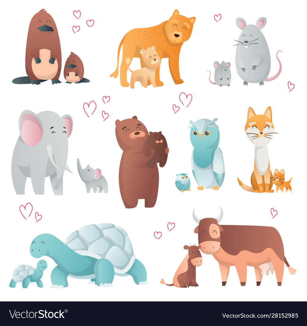 Collection animals mom and baby cartoons cute