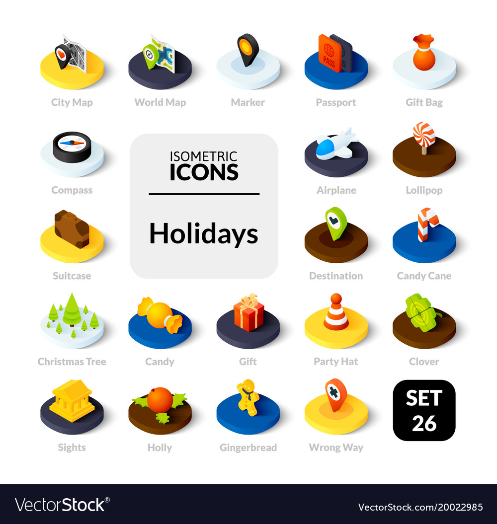 Color icons set in flat isometric