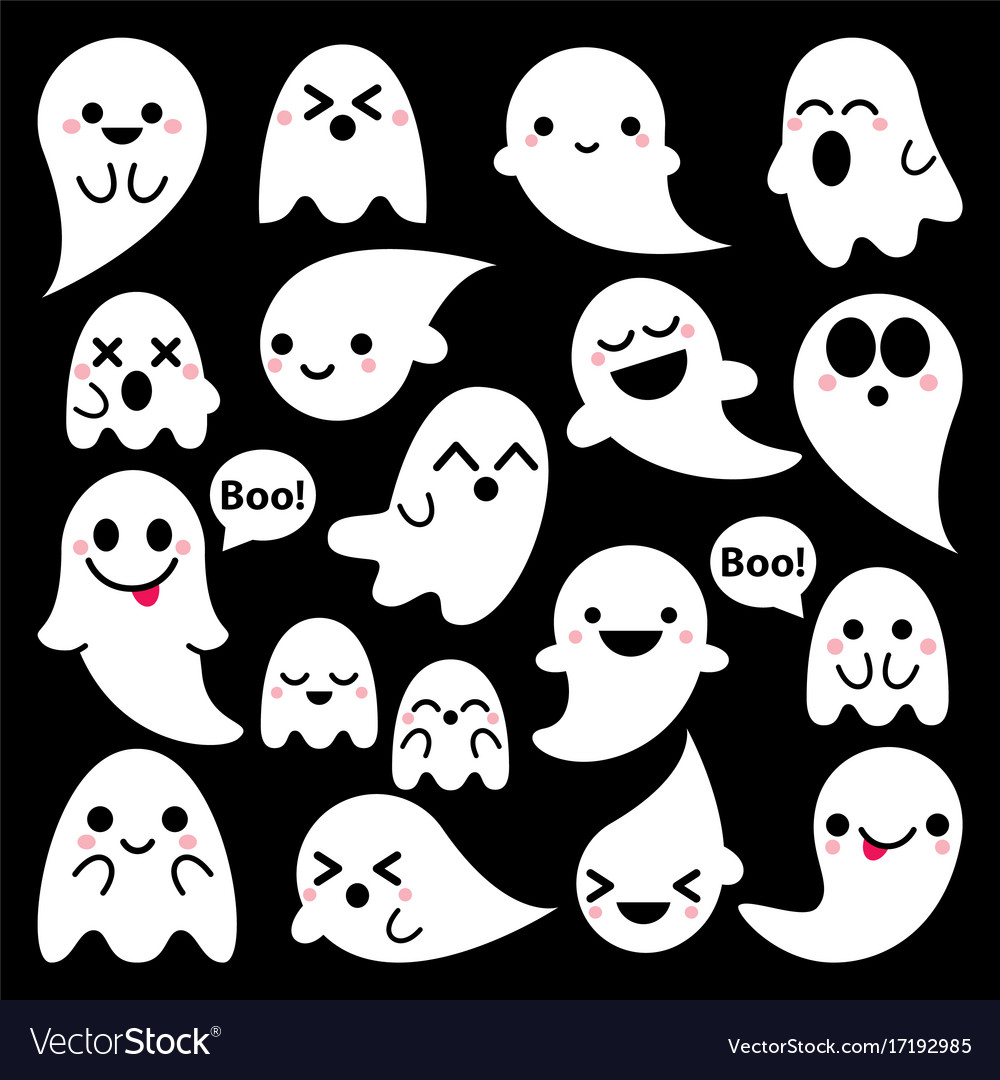 cute ghosts icons on black halloween royalty free vector