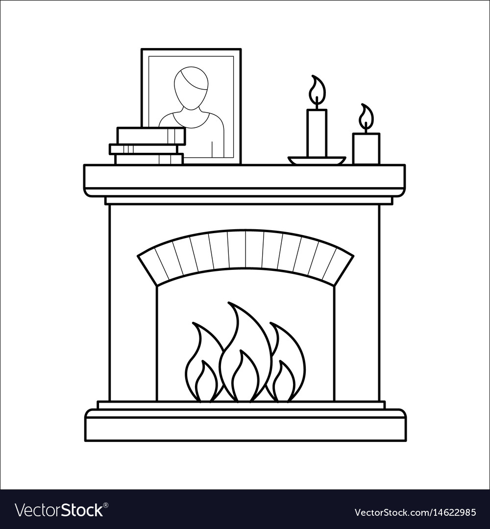 Fireplace in thin line style vector image