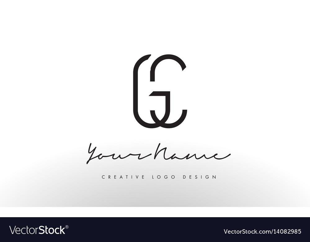 Gc Letters Logo Design Slim Creative Simple Black Vector