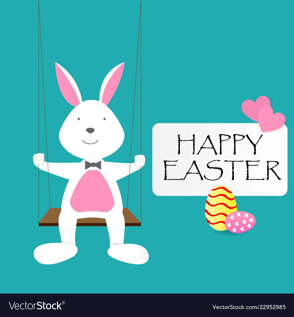 Happy easter day greeting text with rabbit eggs