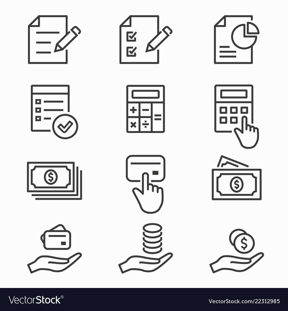 Investments money icons set black