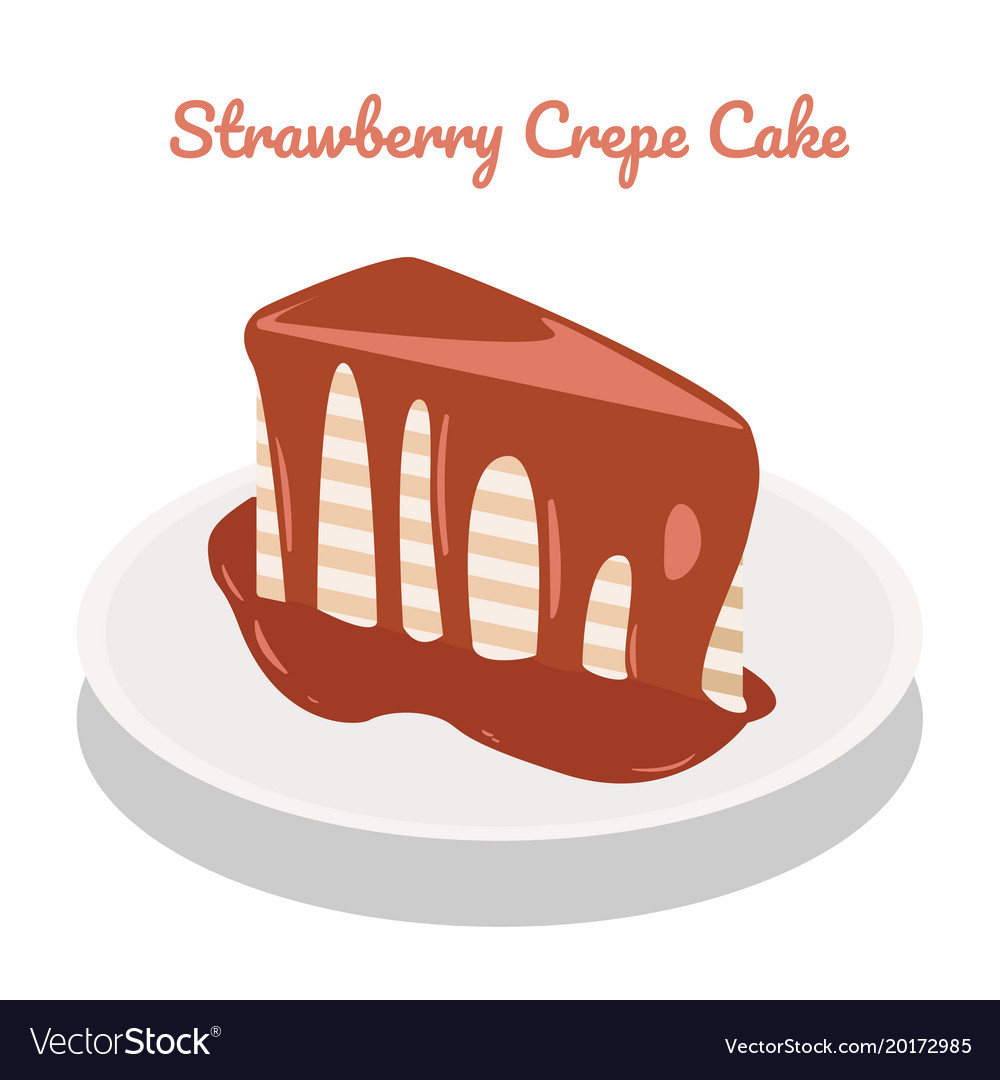 Strawberry crepe cake on plate on white vector image  sc 1 st  VectorStock & Strawberry crepe cake on plate on white Royalty Free Vector