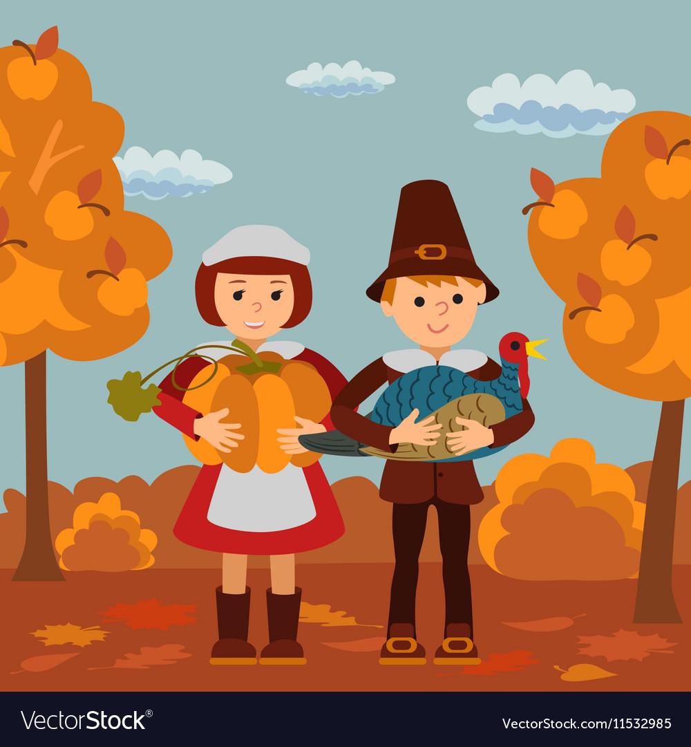 Thanksgiving day children pumpkin and turkey
