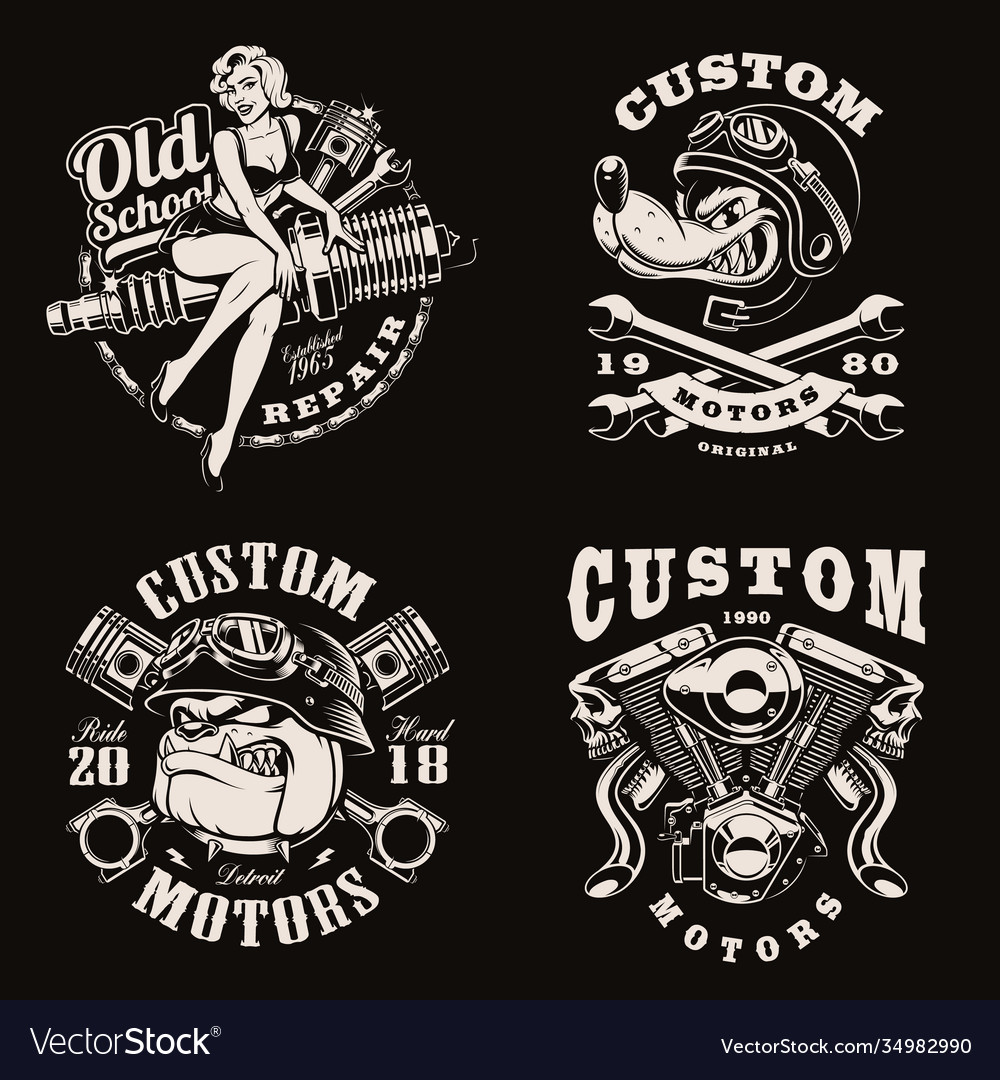 A set black and white vintage biker emblems
