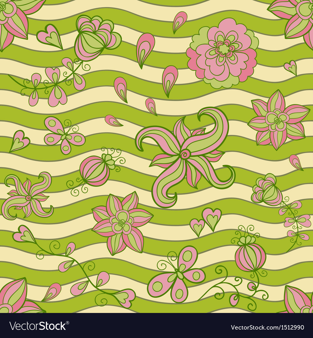 Abstract floral doodle seamless pattern