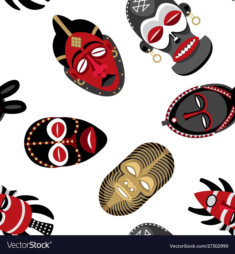 African masks pattern 2