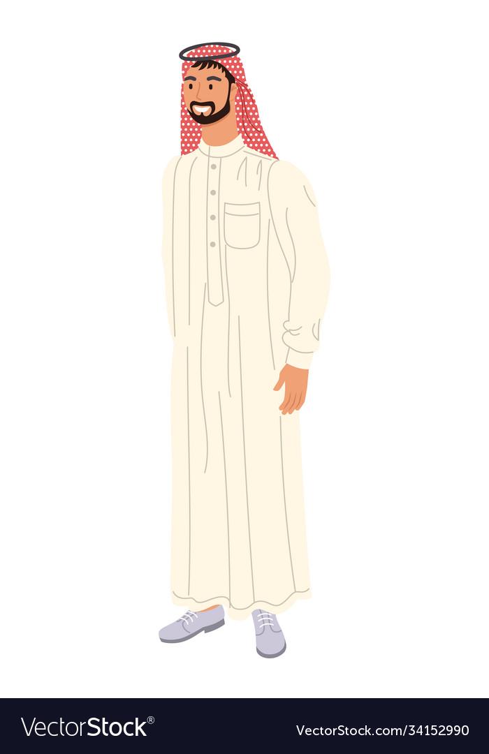 Arabian man full length portrait isolated on white