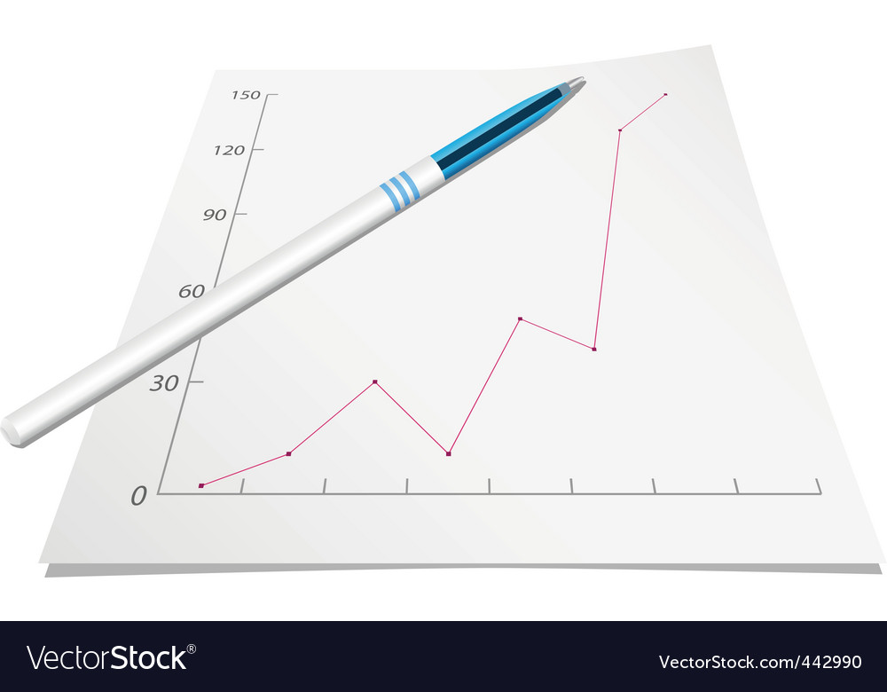 Graph with pen vector image