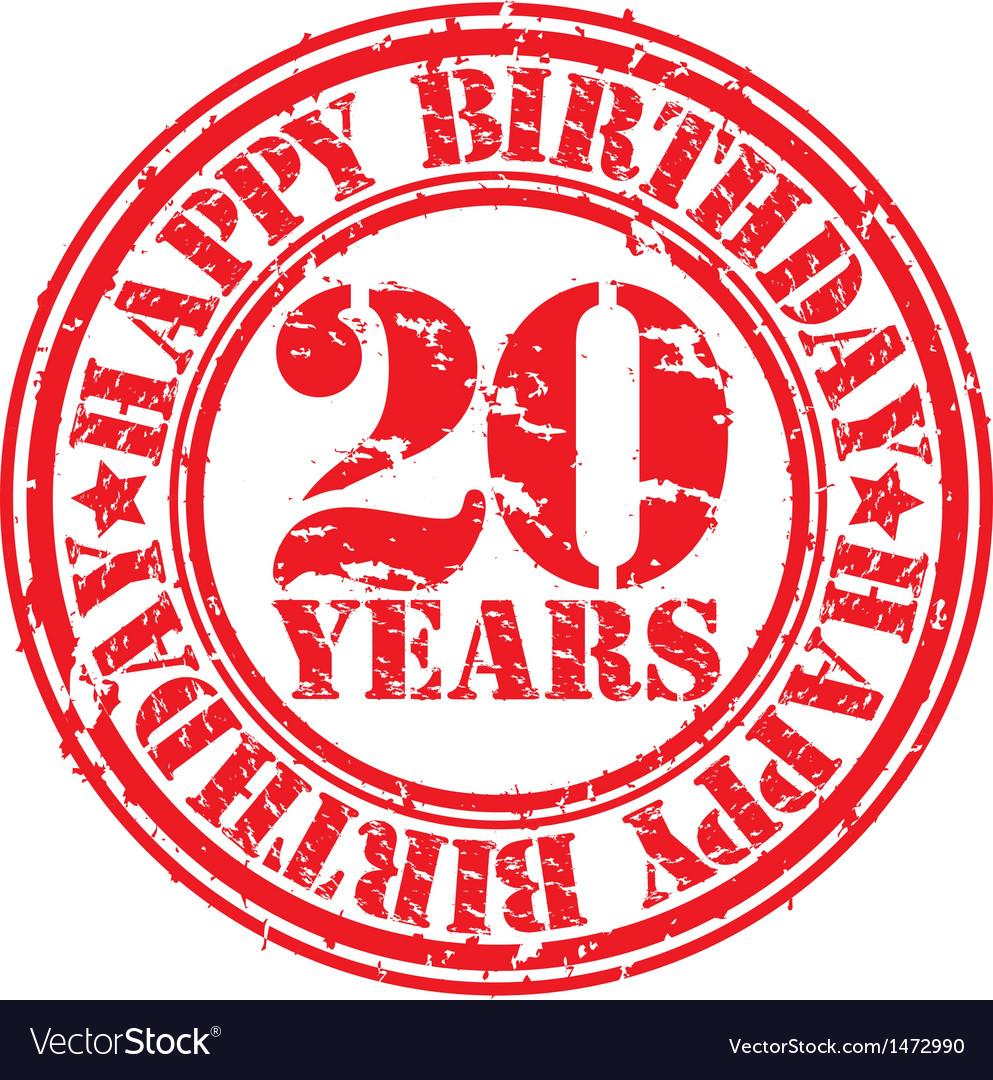 Grunge 20 years happy birthday rubber stamp