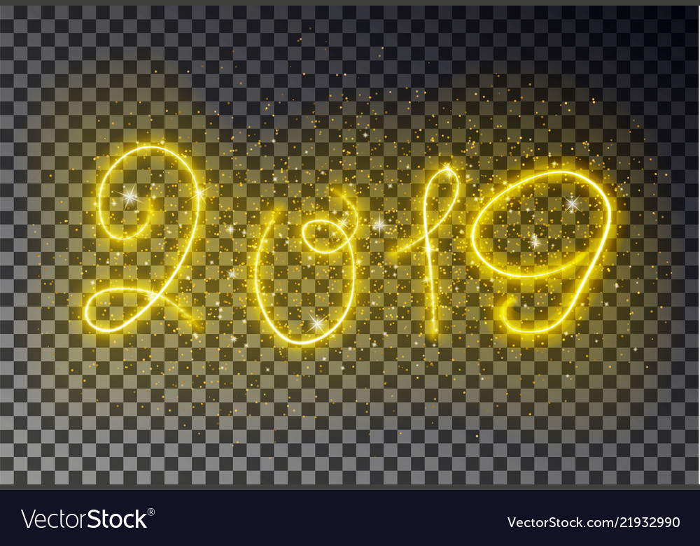Happy 2019 new year light line with sparkle dust