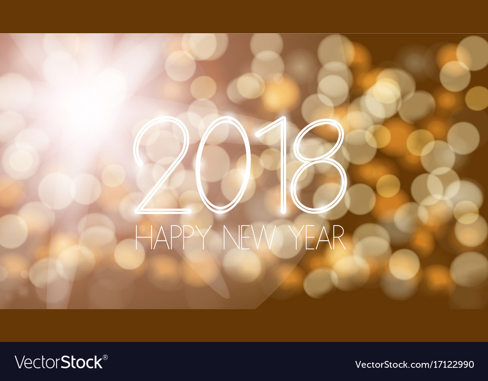 Happy new 2018 year bokeh template