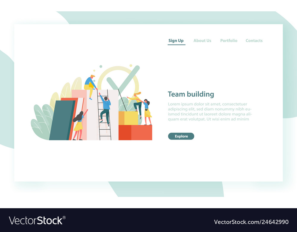 Landing page template with group of clerks