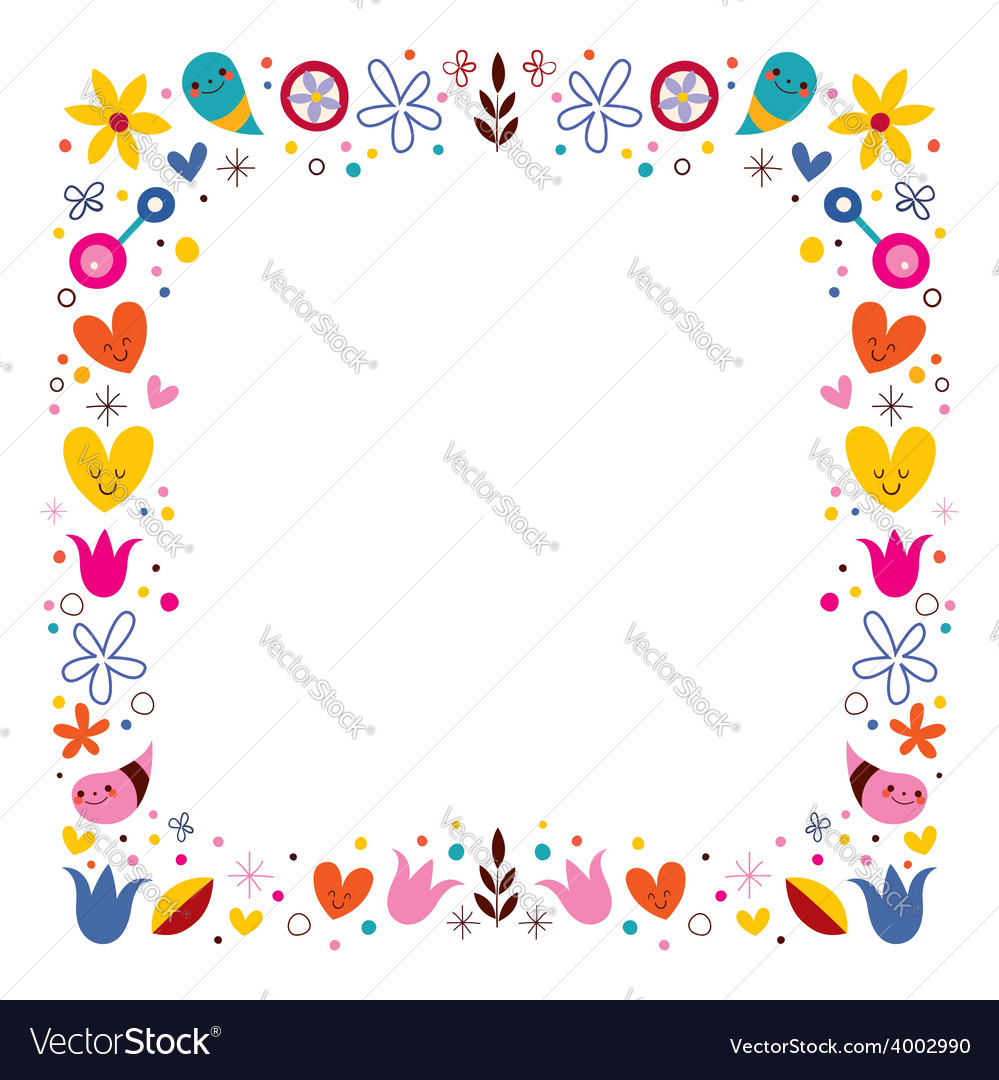 Nature love harmony flowers abstract art frame vector image