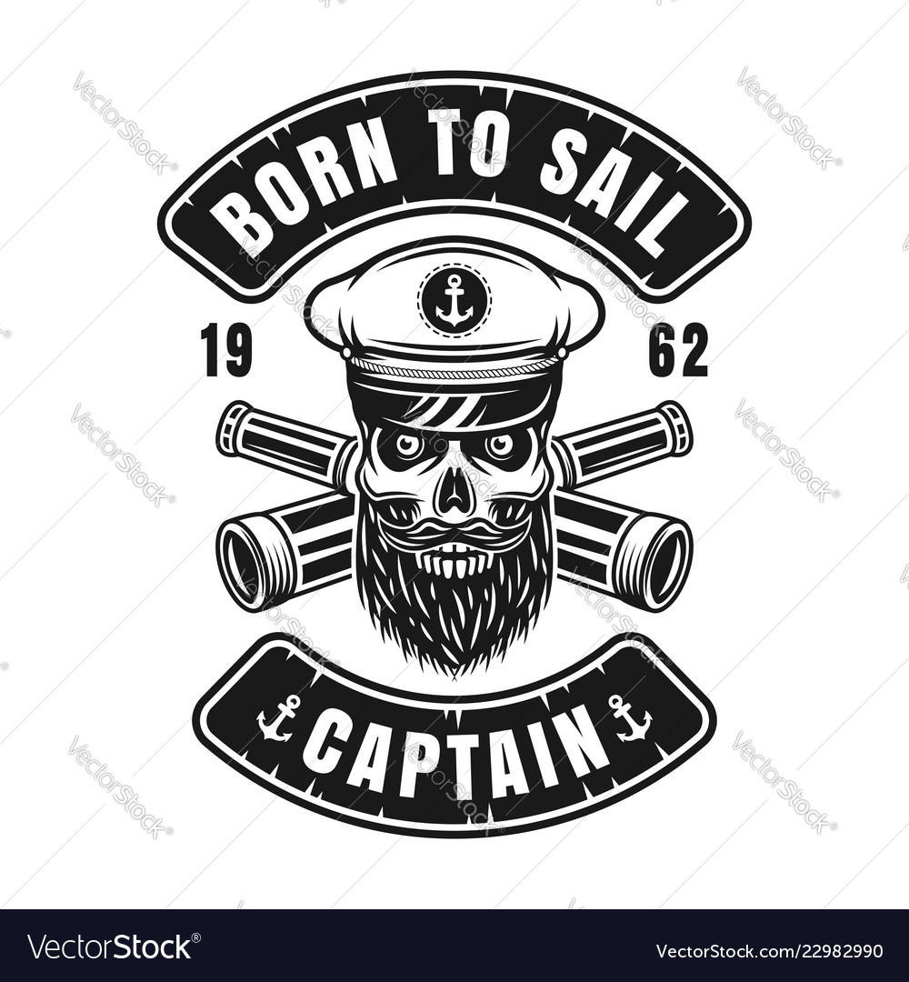 Nautical emblem with captain skull in hat