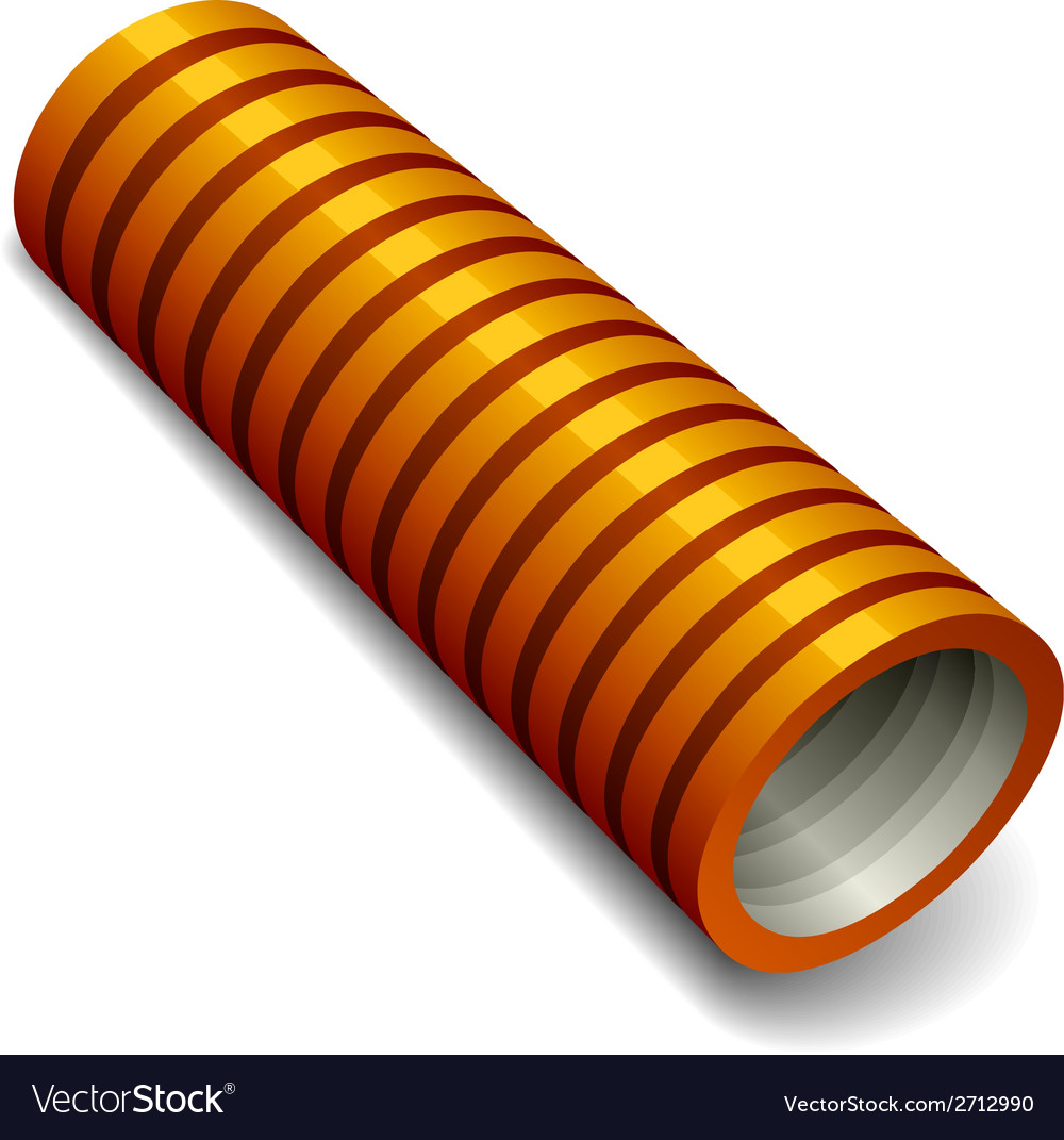 Orange plumbing corrugated tube vector image