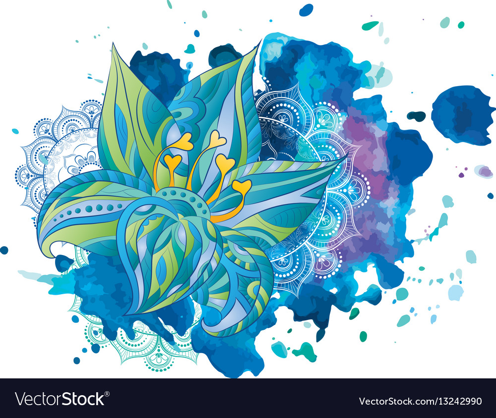 Watercolor stains flowers vector image