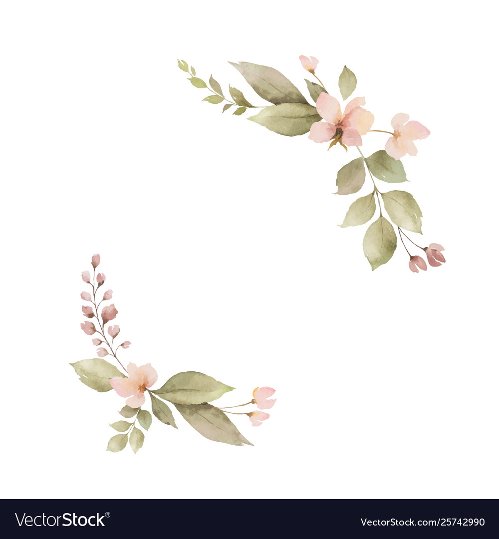 Watercolor wreath with leaves and flowers isolated