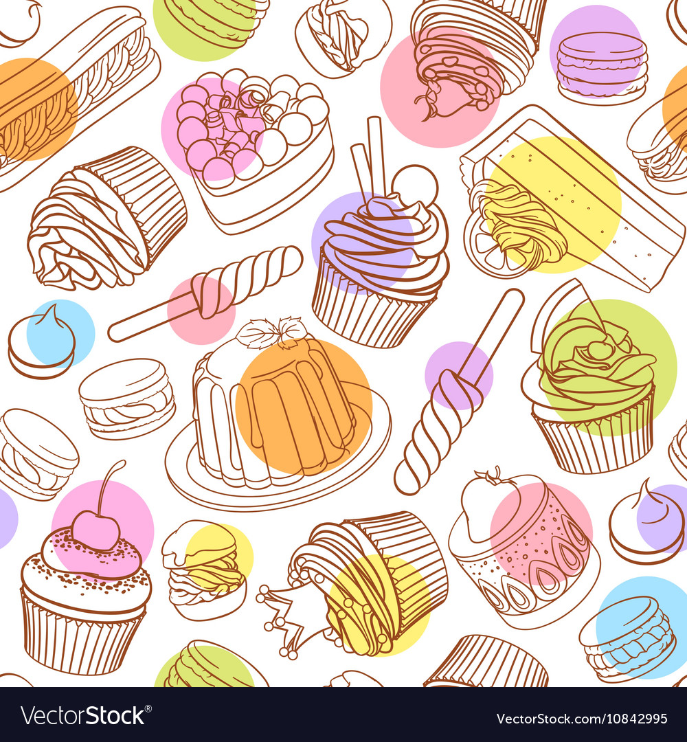 Assorted outlined colorful desserts Seamless