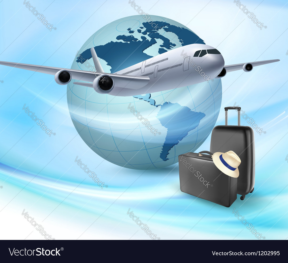 Background with airplane and globe Travel concept