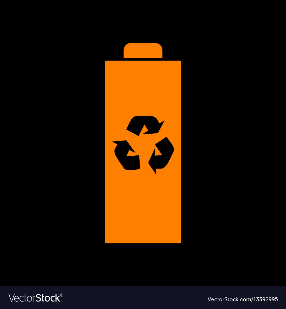 Battery recycle sign orange icon on