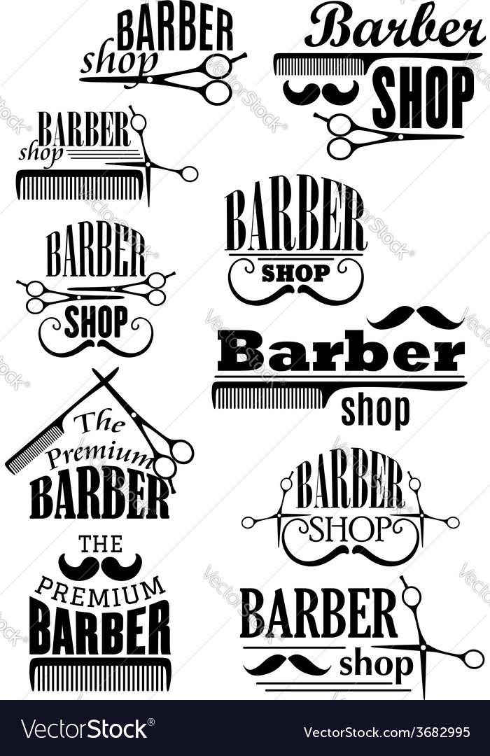 Black vintage barber shop logo and emblems vector image