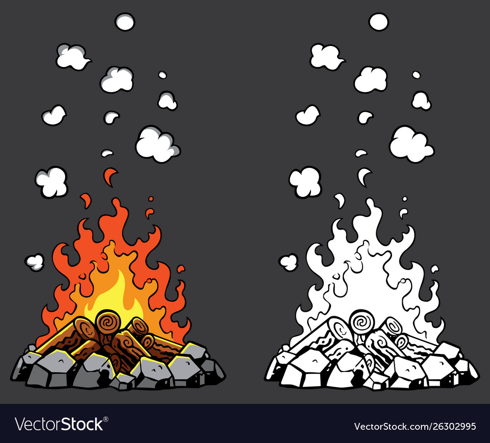 Campfire cartoon set