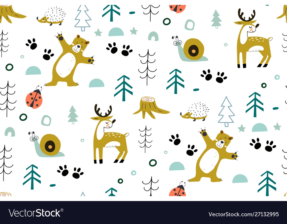 Cute seamless pattern with forest animals with