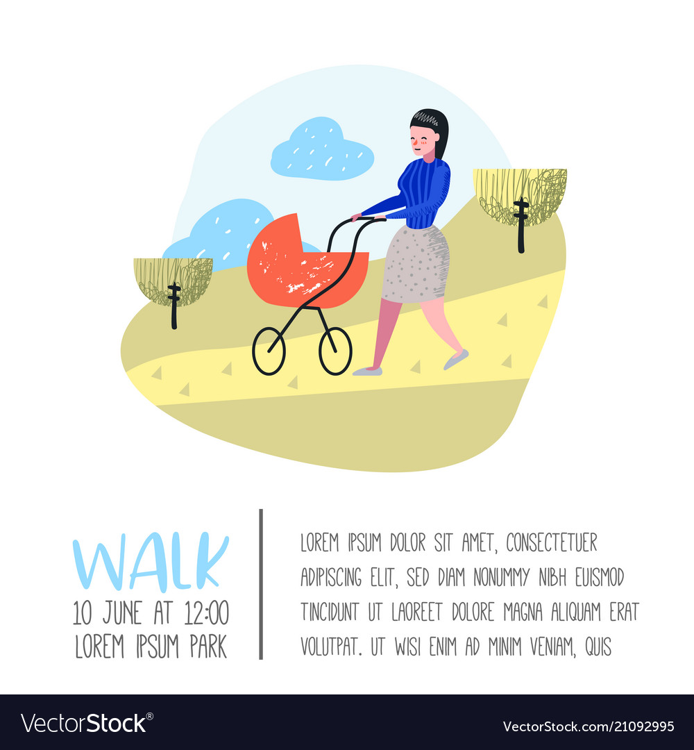 Family outdoor activity poster banner walking
