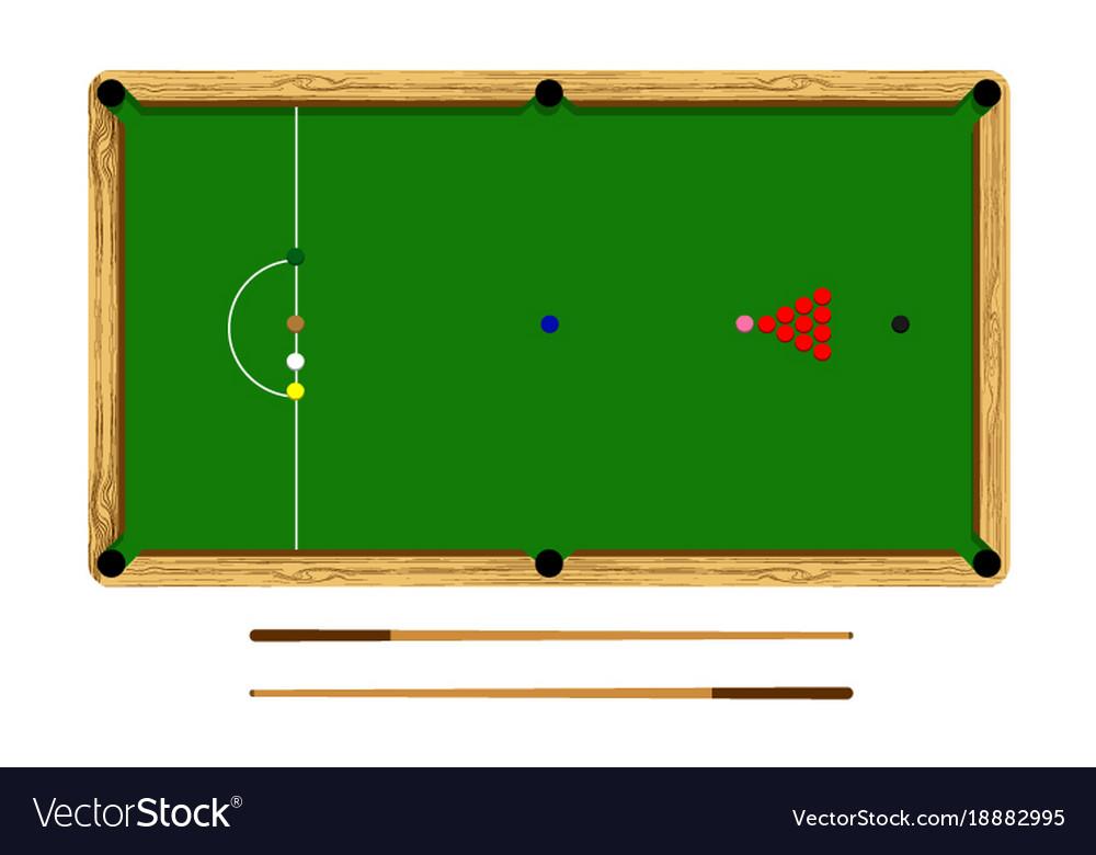 Flat cartoon snooker table billiard ball set Vector Image