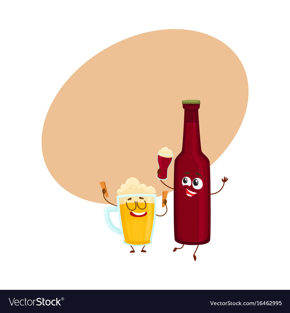 Funny beer bottle and glass characters having fun vector image publicscrutiny Image collections