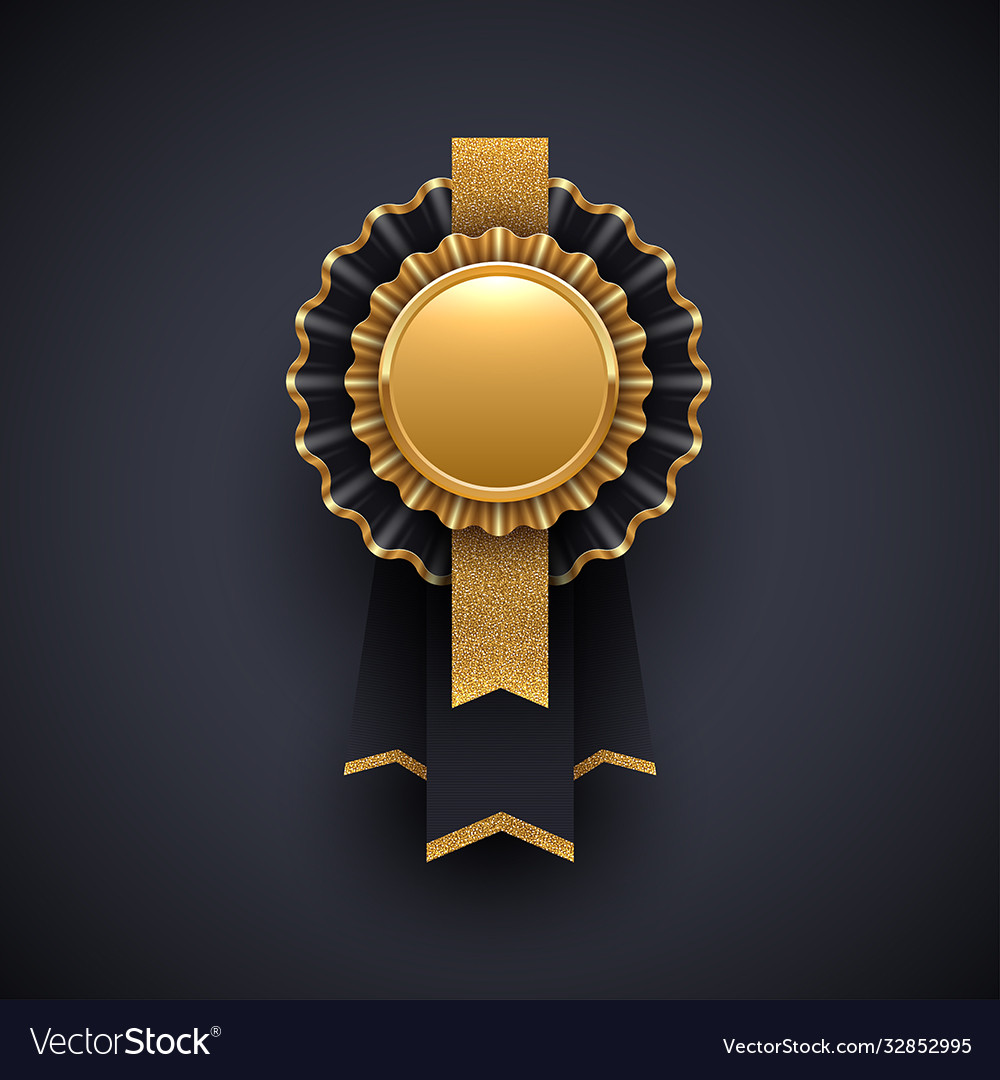Gold and black award badge with glitter gold