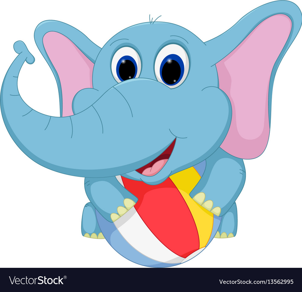 Happy elephant cartoon playing ball vector image