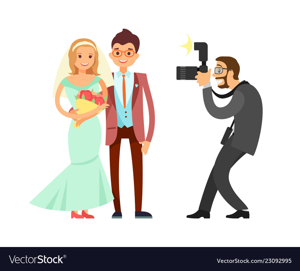 happy married couple and wedding photographer vector image vectorstock