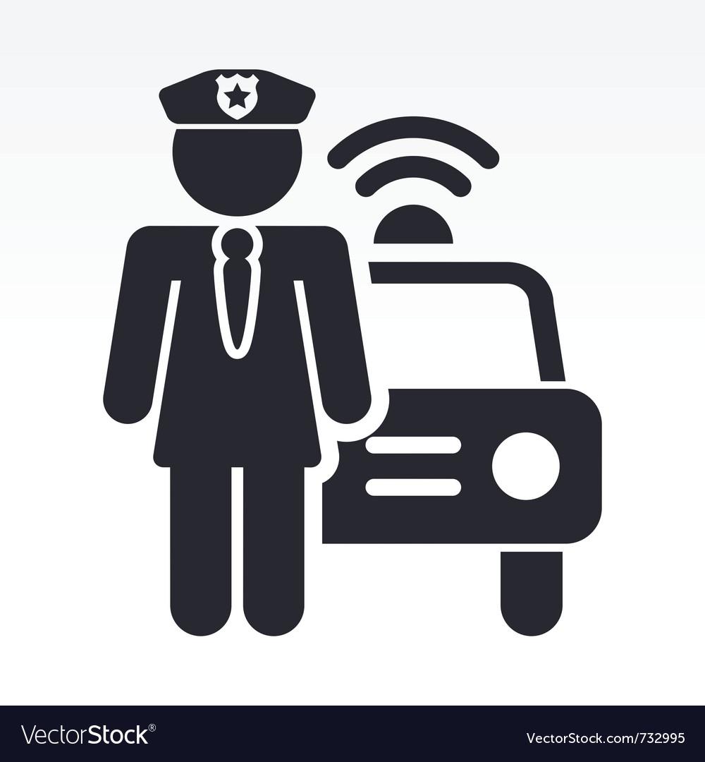 Police girl icon vector image