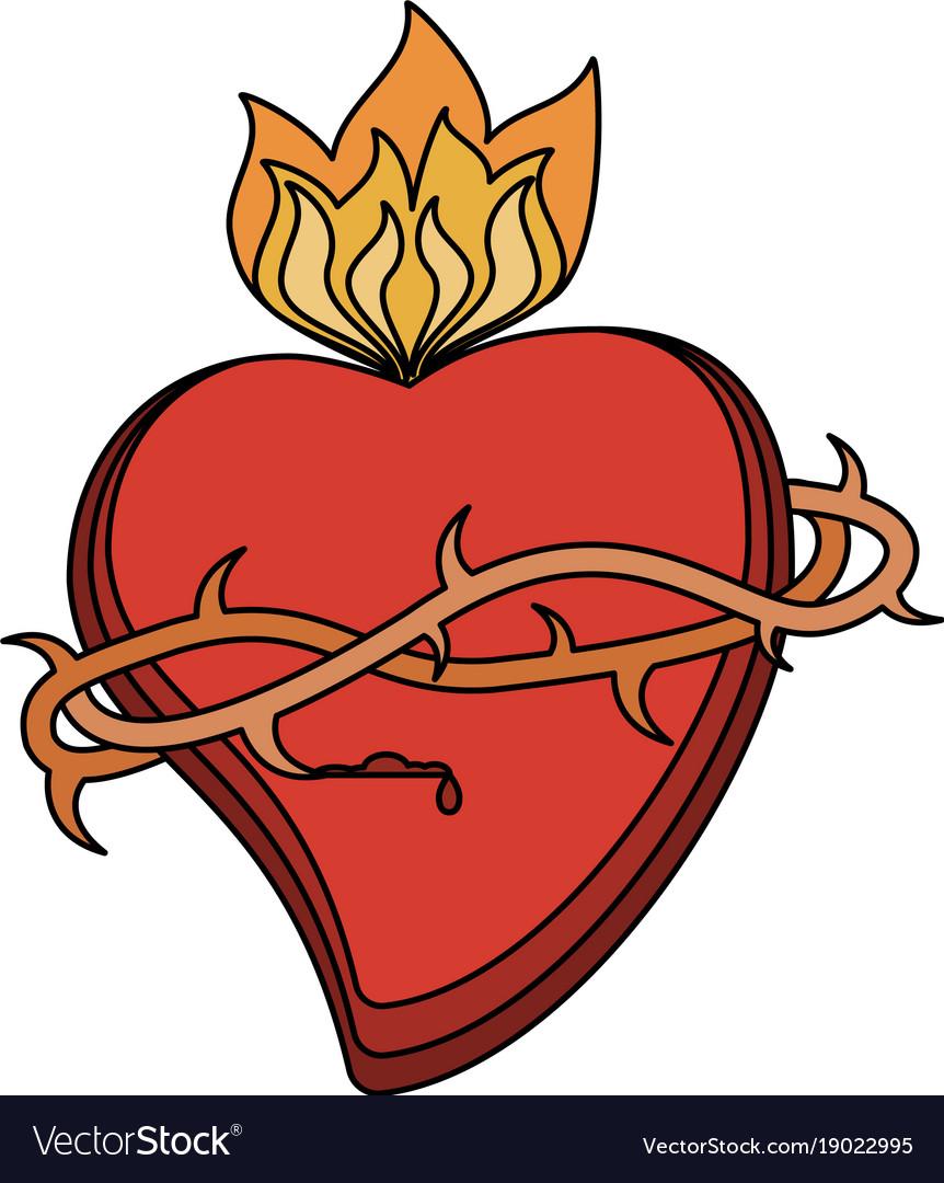 Sacred Heart Catholic Symbol Royalty Free Vector Image
