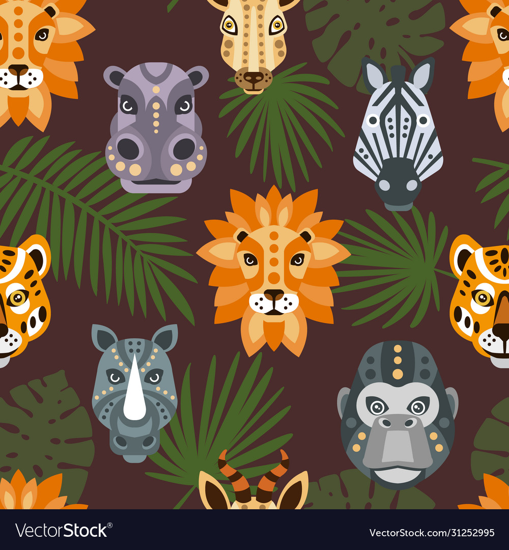 Seamless pattern with african animals and tropical