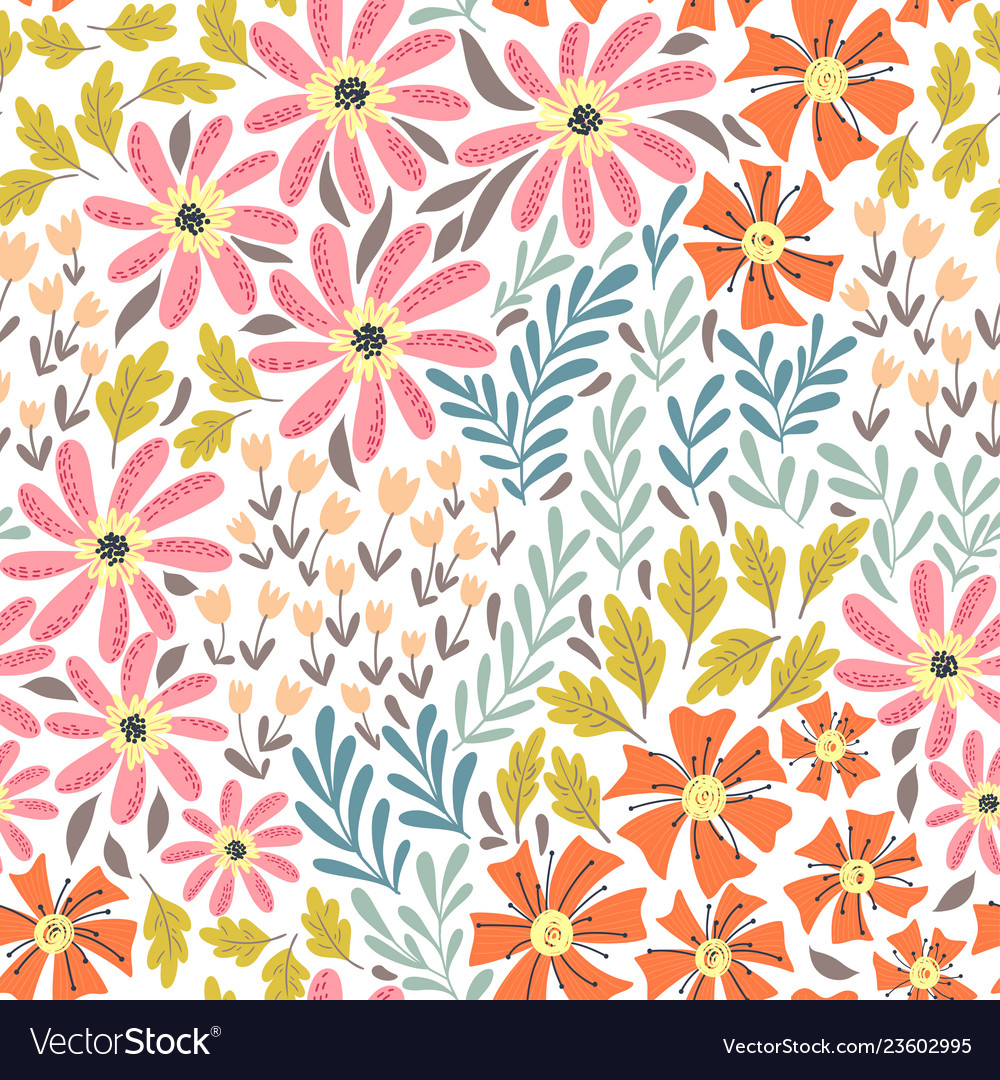 Simple wild flowers pattern