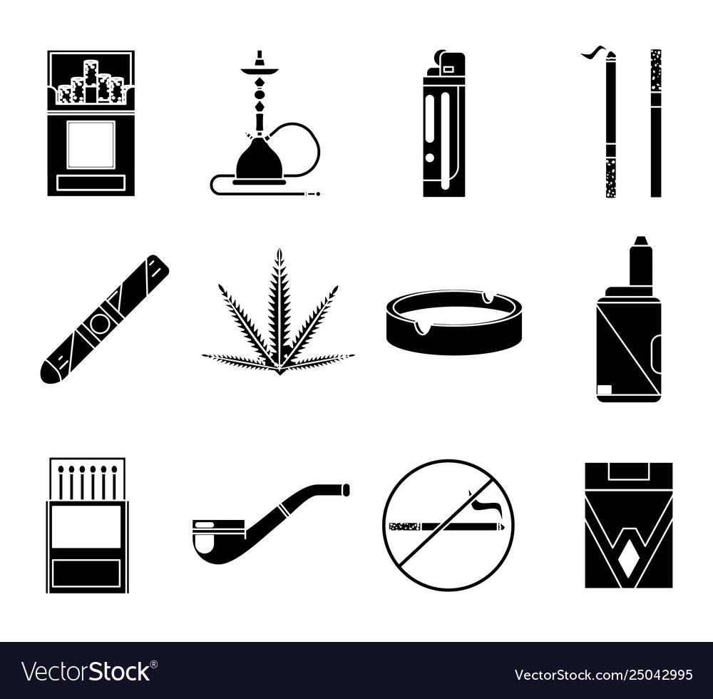 Smoking silhouette icons set cigarette pipe vape