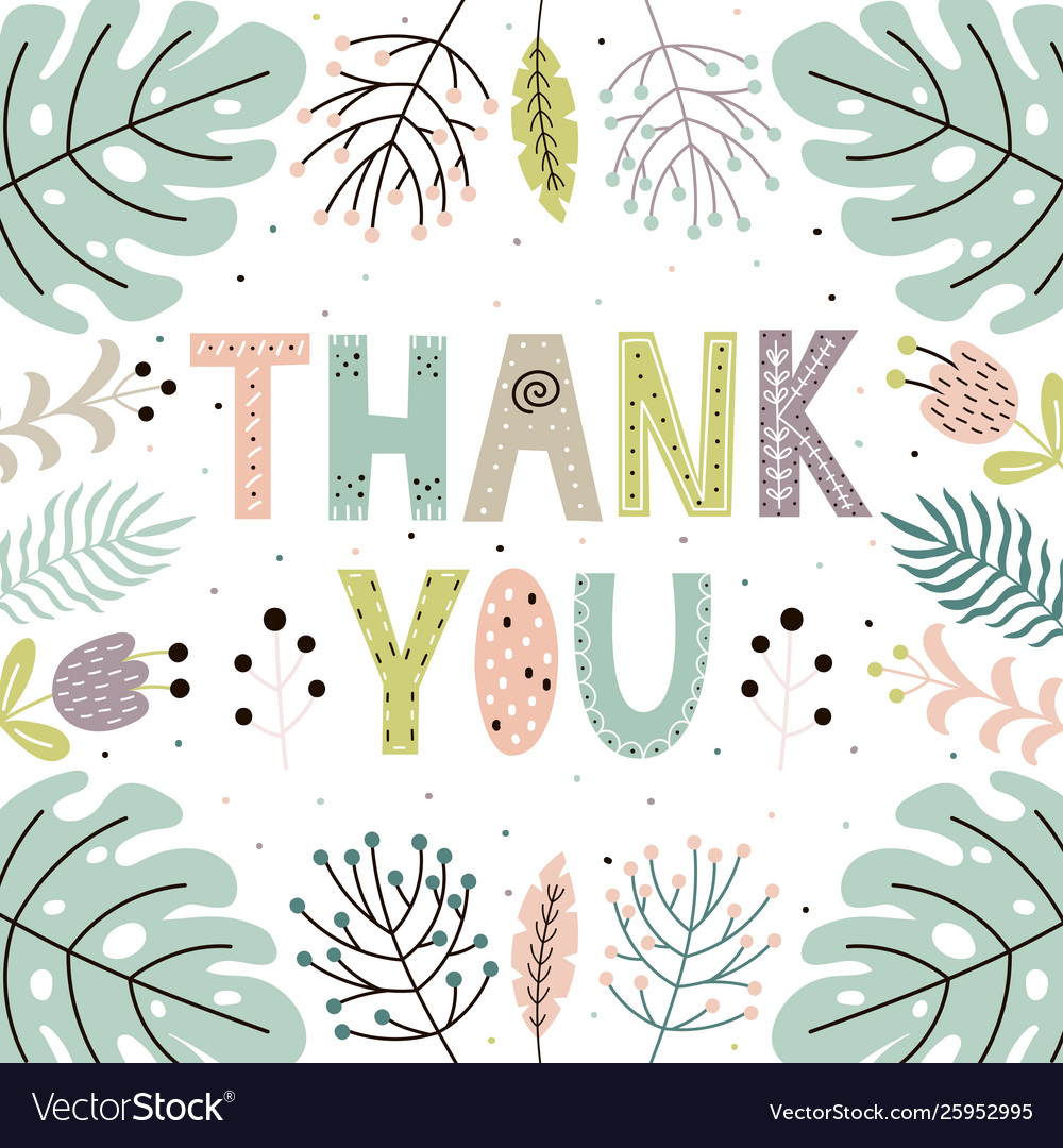 Thank you cute card with hand drawn leaves