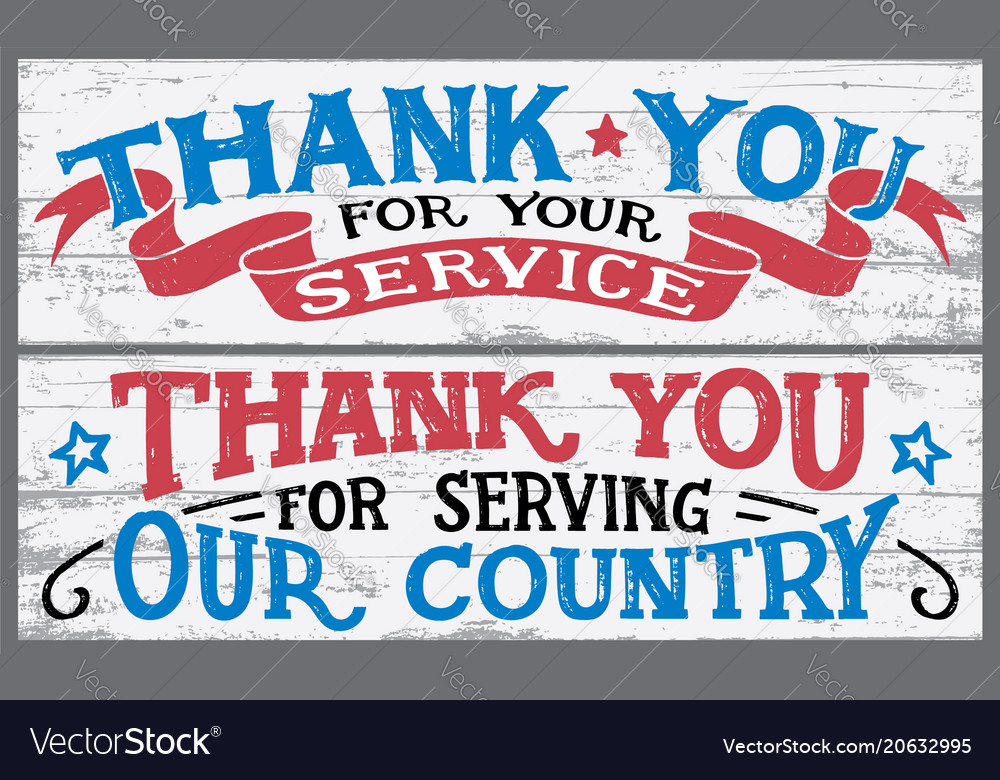 Thank you for your service wood signs vector image