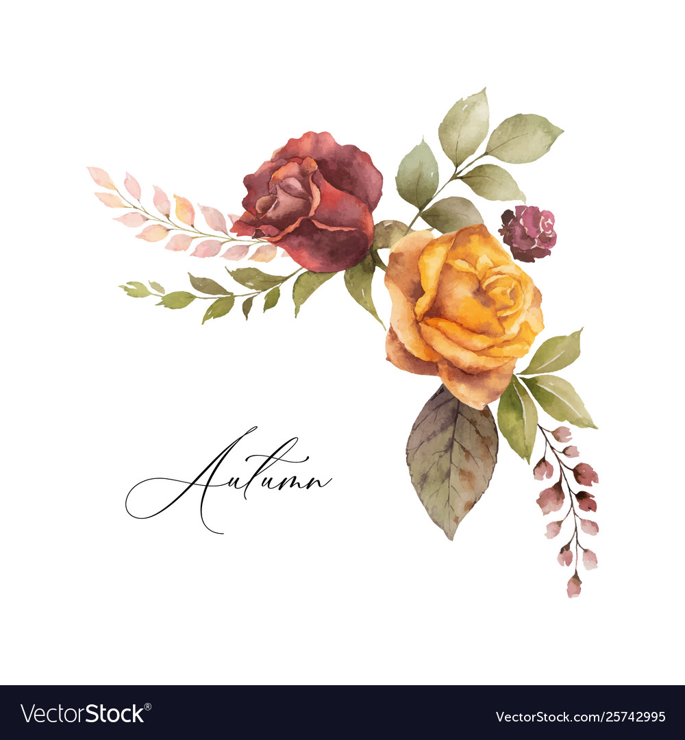 Watercolor Autumn Wreath With Rose And Royalty Free Vector
